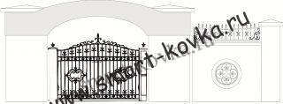 Кованые ворота № Цена за метр квадратный