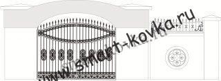 Кованые ворота № 34 Цена за метр квадратный