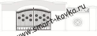 Кованые ворота № 43 Цена за метр квадратный