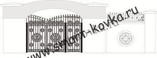 Кованые ворота № 44 Цена за метр квадратный