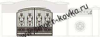 Кованые ворота № 48 Цена за метр квадратный