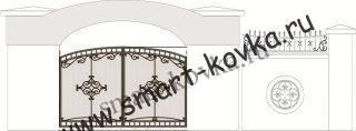 Кованые ворота № 52 Цена за метр квадратный